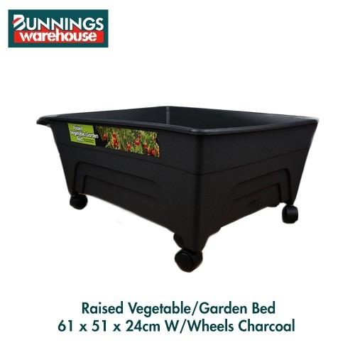 Bunnings Raised Garden Bed #0117520 61 x 51 x 24cm WWheels Charcoal